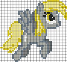 My Little Pony - Derpy Hooves Melty Bead Patterns, Pearler Bead Patterns, Perler Patterns, Loom Patterns, Beading Patterns, Cross Stitch Patterns, Perler Beads, Perler Bead Art, My Little Pony