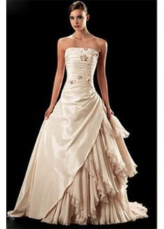 LACE BRIDESMAID PARTY BALL EVENING GOWN IVORY WHITE FORMAL PROM BEAUTIFUL TAFFETA A-LINE WEDDING DRESS