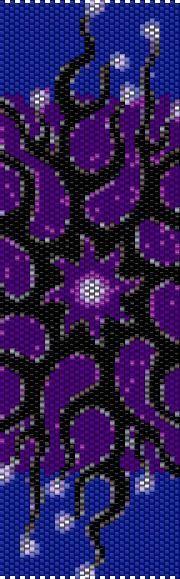 BPBS0005 Purple Swirl 5 Even Count Single Drop Peyote Cuff/Bracelet Pattern