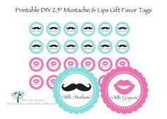 Free Mustache Party Printables | mustache lips printable party favor tags 2 5 diy personalized mustache ...