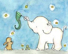 Impresión Archival del arte--Catch A Falling Star elefante y Bunny - infantil