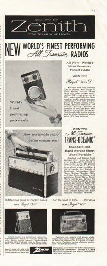 """1958 ZENITH vintage magazine advertisement """"All-Transistor Radios"""" ~ Quality by Zenith - The Royalty of Radios - New World's Finest Performing All-Transistor Radios - Royal """"500-D"""" - Trans-Oceanic - Royal """"300"""" - Royal """"700"""" ~"""