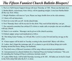 church bulletin bloopers