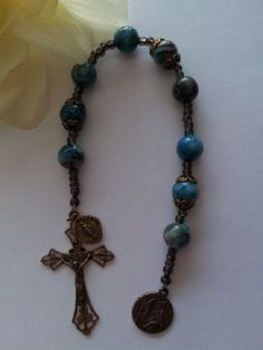St Peregrin Solid Bronze Chaplet Blue Crazy Lace Gemstone by FaithExpressions, $48.00