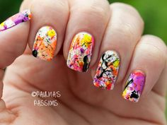 Easy Nail Art Idea ForSummer   Beauty High   For this paint splatter inspired nail art look, you'll need a neutral base color, 3-4 accent colors and a mechanical pencil. Start with two coats of the base color. Once dry, add one drop of an accent color at a time random spots on one nail. While the drop is still wet, use the tip of the mechanical pencil to pull the polish into every direction on the nail. Continue with each accent color and each nail, finishing with a top coat to seal the…