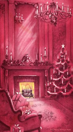 Very Merry Vintage Syle: {Pretty} Pink Fireplace Vintage Christmas Card