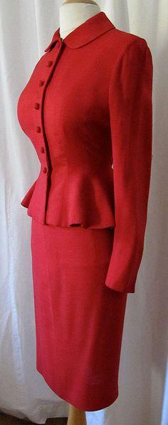 1950's Lilli Annette Lilli Ann 2 Piece Red Suit