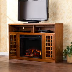 Avondale Grove 48 in. Media Console Infrared Electric Fireplace in ...