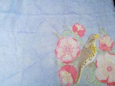 Hand painted vintage scarf chiffon silk light blue by CHEZELVIRE, $12.00