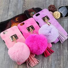 Christmas Gift Phone Back Cover For iPhone 7 For iPhone7 7 Plus 6 6S Plus Fuzzy DIY Fur Ball Tassel Mobile Phone Case Coque