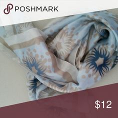 Blue and Gray silk scarf Light blue silk scarf. Great for headband or neck scarf. Accessories Scarves & Wraps