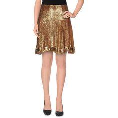 Blumarine Mini Skirt (£352) ❤ liked on Polyvore featuring skirts, mini skirts, gold, flare short skirt, flared mini skirt, sequin mini skirt, blumarine and short flared skirts