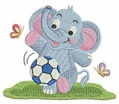 Baby Elephant 10 - 4x4 | What's New | Machine Embroidery Designs | SWAKembroidery.com soccer Ace Points Embroidery