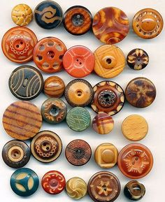Antique Tagua Nut / Vegetable Ivory Buttons - 40 Carved Dyed Whistles- ca. 1900-1910