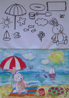 CREA TU PROPIO PAISAJE: Los alumnos tienen que inventarse un dibujo utilizando todos los elemento presentados. Pueden cambiarlos de tamaño e incluso dibujar el mismo elemento dos o tres veces.