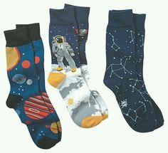 Men's Space Socks Funky Socks, Crazy Socks, Cute Socks, My Socks, Zooey Deschanel, Space Socks, Hipster, Sock Shoes, Lehenga