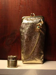 Cigarette Case and Lighter Set  Gold Vinyl Clutch with Attached Chain Lighter by TheLeafery, $54.00