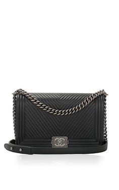 Chanel noire Chevron Chevron veau Grand Sac Boy par Madison Avenue Couture pour Précommande Moda Operandi