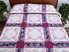 Floral Cross Stitch Quilt -- terrific cleverly made Amish Quilts from Lancaster Toile Bedding, Homemade Quilts, Queen Size Quilt, Embroidered Quilts, Amish Quilts, Quilted Pillow, Quilt Top, Quilt Blocks, Cross Stitch