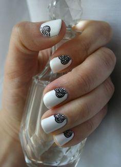 black and white nail art-55 - 55 Black and White Nail Art Designs <3 <3