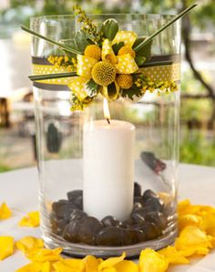 Use this as center with a more narrow vase, then have two smaller and shorter vases with candles on the outside