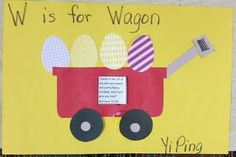 """W is for wagon Mrs. Karen's Preschool Ideas: """"W"""" Week and Easter Letter W Crafts, Preschool Letter Crafts, April Preschool, Abc Crafts, Alphabet Crafts, Preschool Education, Alphabet For Kids, Preschool Lessons, Alphabet Activities"""
