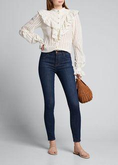 J Brand Maria High-rise Skinny Jeans In Dark Blue Dark Denim, Blue Denim, Slim Legs, Fashion Branding, J Brand, Super Skinny, Casual Looks, Skinny Jeans, Model