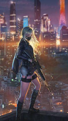 samsung wallpaper sniper girl, cityscape, anime girl … – About Anime Kawaii Anime Girl, Manga Kawaii, Cool Anime Girl, Anime Art Girl, Anime Girls, Dark Anime Girl, Manga Girl, Female Characters, Anime Characters
