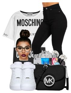"""Moschino"" by ballislife ❤ liked on Polyvore featuring Moschino and NIKE"