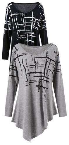 Long Sleeve Splatter Paint Plus Size Asymmetric T-Shirt Pretty Outfits, Cool Outfits, Fashion Outfits, Womens Fashion, Fashion And Beauty Tips, Sewing Clothes, Plus Size Outfits, Casual Wear, Plus Size Fashion