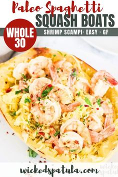Paleo Spaghetti Squash Shrimp Scampi Recipe - This spaghetti squash shrimp scampi recipe is healthy, delicious, low carb and EASY! paleo shrimp scampi is one of the best ways to make spaghetti squash and shrimp together. Cheap Paleo Meals, Easy Paleo Dinner Recipes, Easy Whole 30 Recipes, Best Gluten Free Recipes, Real Food Recipes, Whole30 Recipes, Healthy Meals, Easy Recipes, Diet Recipes