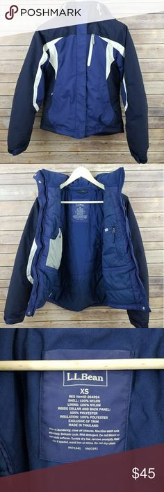 L.L. Bean XS Men's Nylon Ski Jacket Coat Excellent used condition with the exception of a small mark between the embroidered letters.  Great coat for skiing and other cold weather activities!  Many pockets including a goggle pocket with detachable goggle cleaning cloth.   From a smoke free home! L.L. Bean Jackets & Coats Ski & Snowboard