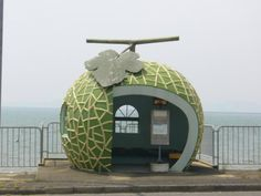 Fruit Bus Stops in Japan, photo by Ameblo « Inhabitat – Green Design, Innovation, Architecture, Green Building Urban Furniture, Street Furniture, Bus Shelters, Pumpkin Carriage, Roadside Attractions, Bus Station, Nagasaki, Cute Japanese, Bus Stop