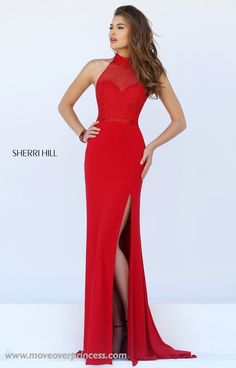This Sherri Hill looks like a 2-piece from the back but it's solid in the front! Perfect for the schools that won't allow actual 2-pieces!