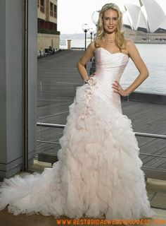 A-line Sweetheart Chapel Train Tulle Silk Wedding Dress Pink Wedding Gowns, Wedding Dresses With Flowers, Maggie Sottero Wedding Dresses, Wedding Dress Pictures, Cheap Wedding Dress, Bridal Dresses, Wedding Attire, Wedding Engagement, Plus Size Wedding Dresses With Sleeves