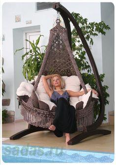 Buy Hanging Cane Handmade Wicker Swing Chair at Wish - Shopping Made Fun Macrame Hanging Chair, Macrame Chairs, Hanging Chairs, Hanging Beds, Hammock Chair, Swinging Chair, Lampe Crochet, Wicker Swing, Cool Furniture