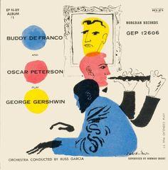 Buddy DeFranco,Oscar Peterson- Play George Gershwin, label: Norgran MGN-1016 (1955), Design: David Stone Martin.