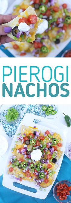 Pierogi Nachos. Next level dinner that is SO simple to make. Mrs. T's Pierogies and Daisy brand Sour Cream help to make these yummy nachos SO easy to make. Your family will love this. @easyhomemeals! #ad