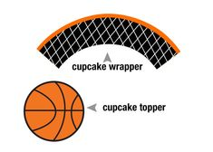 Printable Basketball Cupcake Topper and Cupcake by SweetandClever