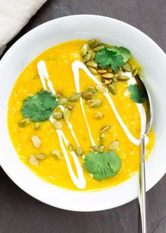 Yellow split pea soup with Indian curry spices. Bright, flavorful, and filling! Vegetarian and gluten-free.