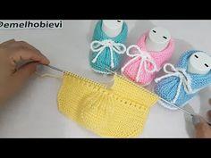 Baby Sweater Knitting Pattern, Sweater Knitting Patterns, Knitting Socks, Knitted Booties, Crochet Slippers, Baby Patterns, Crochet Patterns, Design Youtube, Knitting Videos