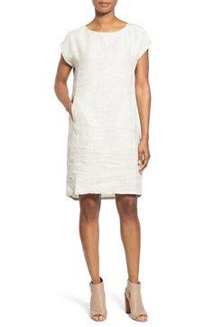 Eileen Fisher Print Linen Ballet Neck Knee Length Shift Dress (Regular & Petite)
