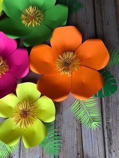 Set Of 5 Tropical Paper Flowers And 8 Leaves Paper Flowers