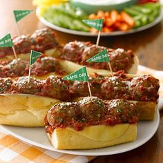 Make halftime extra special with these toasty turkey meatball subs. To save yourself time, form the meatballs the morning of the game and then cover and refrigerate.