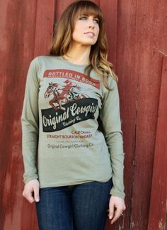 """COWGIRL ATTITUDE TEE Green Vintage 1920's Bourbon Label """"Original Cowgirl"""" Jumping Horse Long Sleeve Western T-Shirt Tee Shirt"""