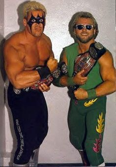 """UWF Tag Team Champions Sting and """"Hotstuff"""" Eddie Gilbert. WHAT?! my cousin tagged w/ Sting!!!!!!"""