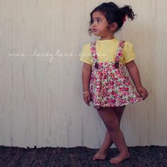 Vintage high waisted suspender skirt. Floral love! Paired with Josey summer yellow lemon blouse. Lacey Lane fashion for little ladies. Quirky yet classic all in one. xx