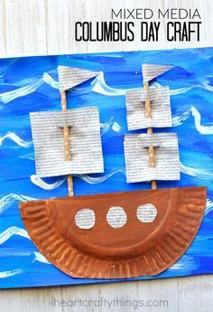 Make this gorgeous Mixed Media Columbus Day Craft after learning about early explorers and American History. Fun fall kids craft and American history craft for kids. - Kids education and learning acts Fall Crafts For Kids, Craft Projects For Kids, Thanksgiving Crafts, Summer Crafts, Toddler Crafts, Diy For Kids, Holiday Crafts, Art Projects, Winter Craft