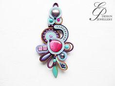 Editgyöngyei: július 2017 Soutache Pendant, Soutache Jewelry, Shibori, E Design, Belly Button Rings, Brooch, Floral, Jewellery, Inspiration