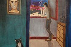 El gato azul, cuadro de Pacco, óleo sobre tela